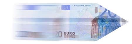 dinero volando: Paper Plane euros aisladas sobre fondo blanco Foto de archivo