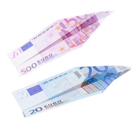 20 euro: Paper Euro plane isolated on white background