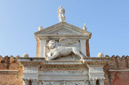 The Winged Lion Of St Mark On Top Of The Porta Magna At The Stock