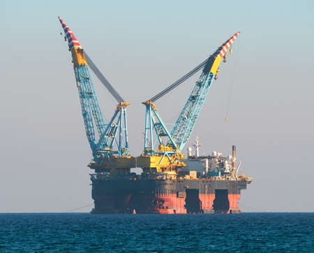 Gas and oil rig in Cyprus. Offshore exploration platform Editorial