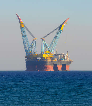 Gas and oil rig in Cyprus. Offshore exploration platform Editöryel