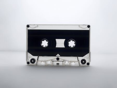 audio cassette on a white background. back light.
