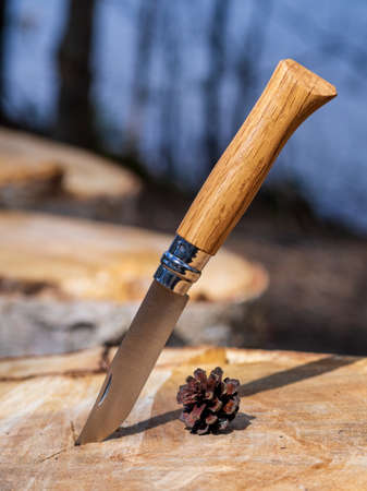 Vintage knife with a wooden handle on a stump. Tourist camping knife.