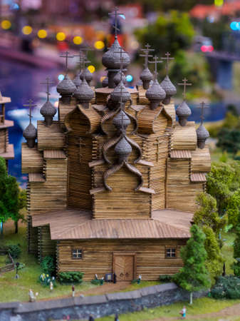 Saint Petersburg, Russia, November 2020. Grand Model Russia, exposition of the Church of the Transfiguration of the Lord on the territory of the Kizhi Museum-Reserve