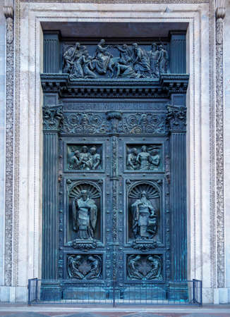 Saint Petersburg, Russia - November 2020 - The northern door of Saint Isaac's Cathedral representing the Resurrection of Christ in St. Petersburg Редакционное