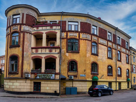Vyborg, Leningrad region, Russia. - July 27, 2020. The historic old building of the old town hall of Vyborg.