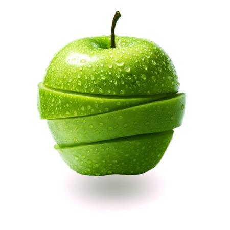 put together: apple sliced into wedges and put together