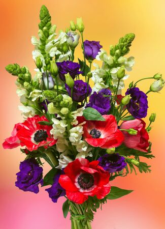 anemones: bouquet with red anemones