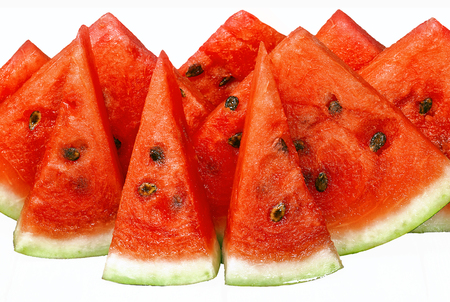 Slices of juicy watermelon different sizes and size