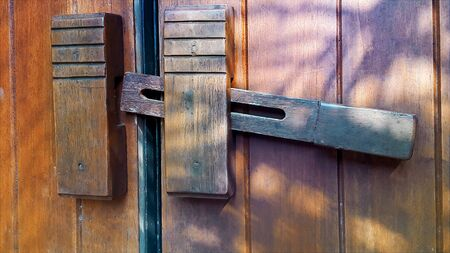 wooden heck on a wooden wooden door