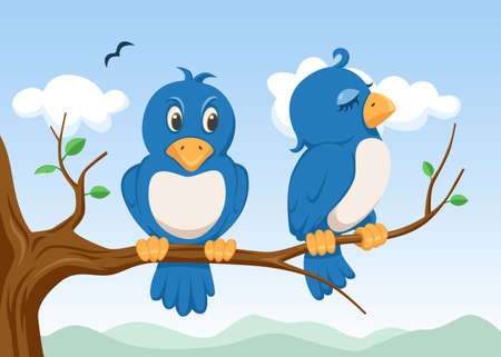 two birds on the tree