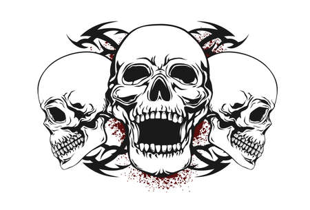 shirt design: skull with tribal elements