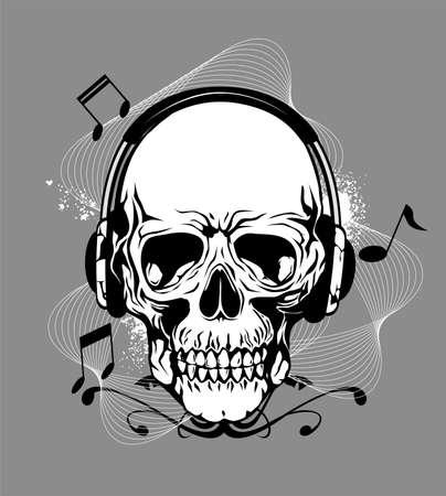 Totenkopf mit Kopfhörer