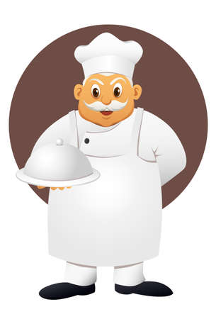 fat chef with food  Vector