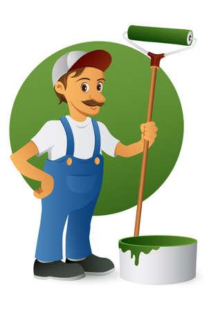 cartoon painter: Painter with a a paint roller