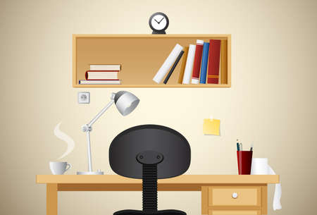 table with drawing tools, a cup of coffee, and table lamp  Illustration