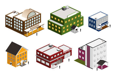 isometric building set  Illustration