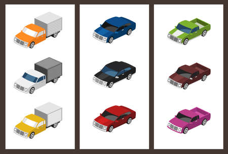 isometric car set  Çizim
