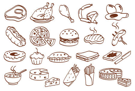 food related icon set