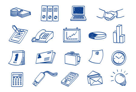 doodle Business Icon Set Stock Vector - 9934607