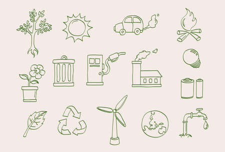 environment doodle icons