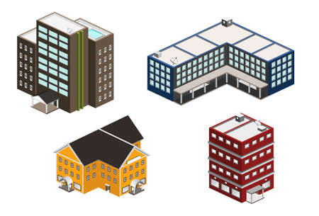 isometric building set Çizim