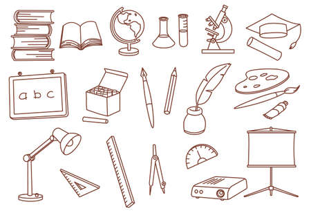education related doodle icons