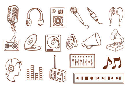audio related icon set