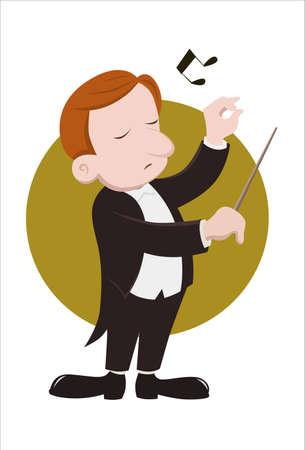 chef d orchestre: Un conducteur effectue musiciens Illustration