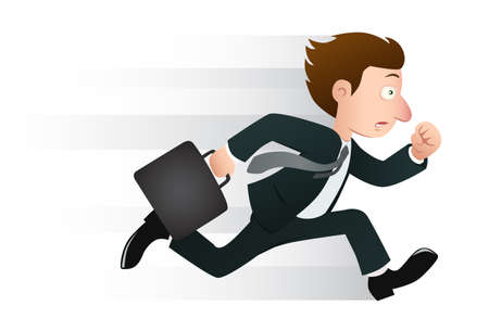 busy person: hombre de negocios corriendo con su cartera