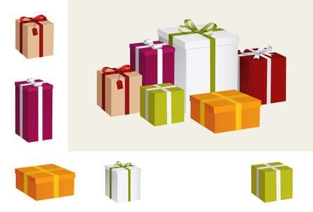 three gift boxes: gift collection Illustration