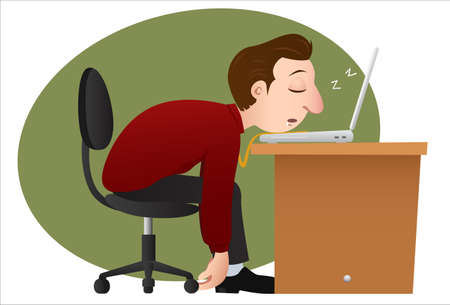 businessman falls asleep at his desk Stock Vector - 13263633