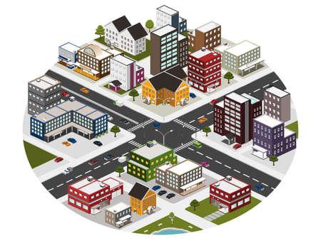 isom�trique: Ville isom�trique Illustration