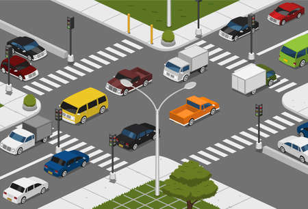 crossing street: isometric Intersection