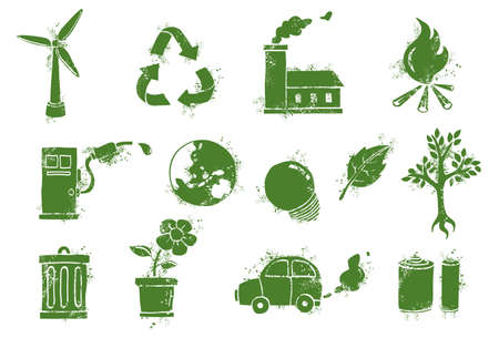 green power: environment doodle icons