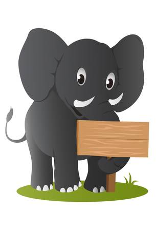 elephant with wooden sign Illustration