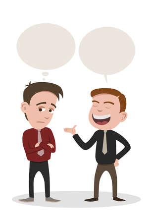 dos personas hablando: un hombre que habla y un hombre se aburre
