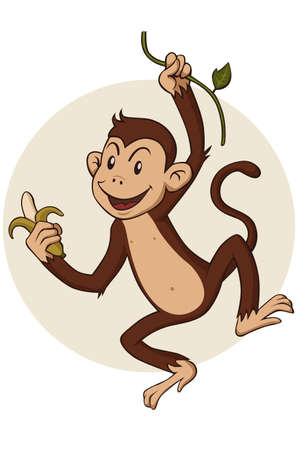 banaan cartoon: aap opknoping van een tak van een boom