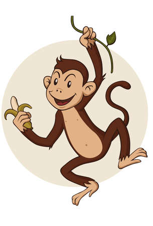 monkey hanging from a branch of a tree Illustration