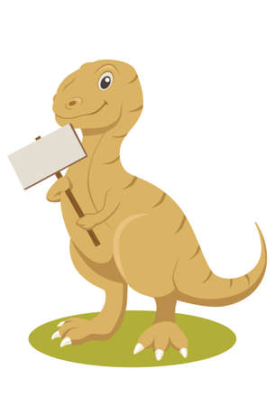 t rex: Cartoon vector illustration of a t-rex with sign