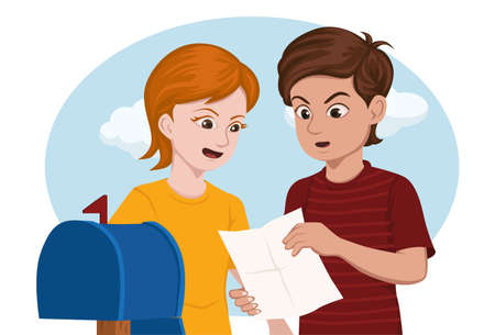 mail box: 2 kids surprised while reading a letter