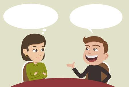 대화와 사람이 설명하는 무언가를 가진 두 비즈니스 사람