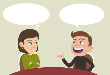 twee mensen uit het bedrijfsleven die een gesprek en man iets uit te leggen
