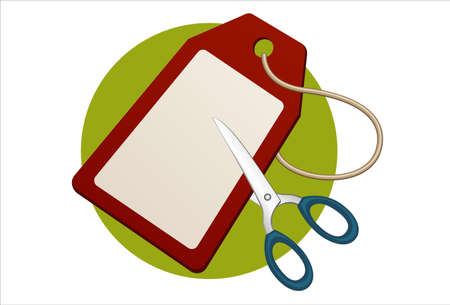sacrificed: vector illustration  oF price label cut with scissors  Illustration