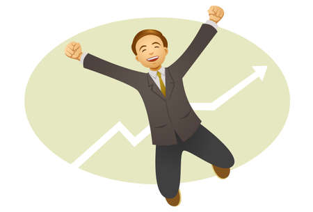 A happy businessman jumping in the air