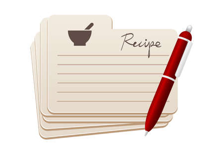 Rezeptkarten mit rotem Stift Standard-Bild - 20163761