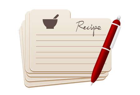 tarjeta: tarjetas de la receta con la pluma roja