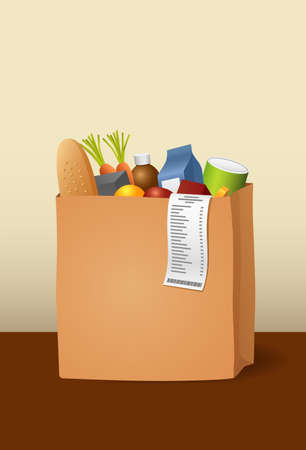 paper bag with groceries Vector