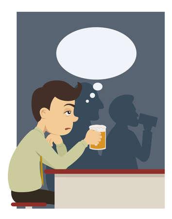 man with beer at pub Illustration