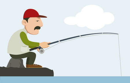 fullbody: fisherman holding a fishing pole  Illustration